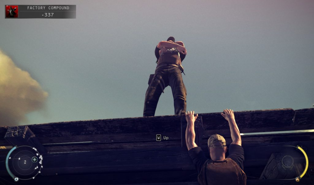 Screenshot of an enemy NPC above main character; main character is hanging off the bridge ledge.